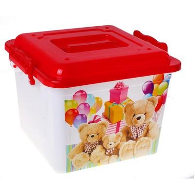 """Ящик для игрушек 8,5 л """"Мишки"""" с крышкой, цвет красный - Фото 1"""