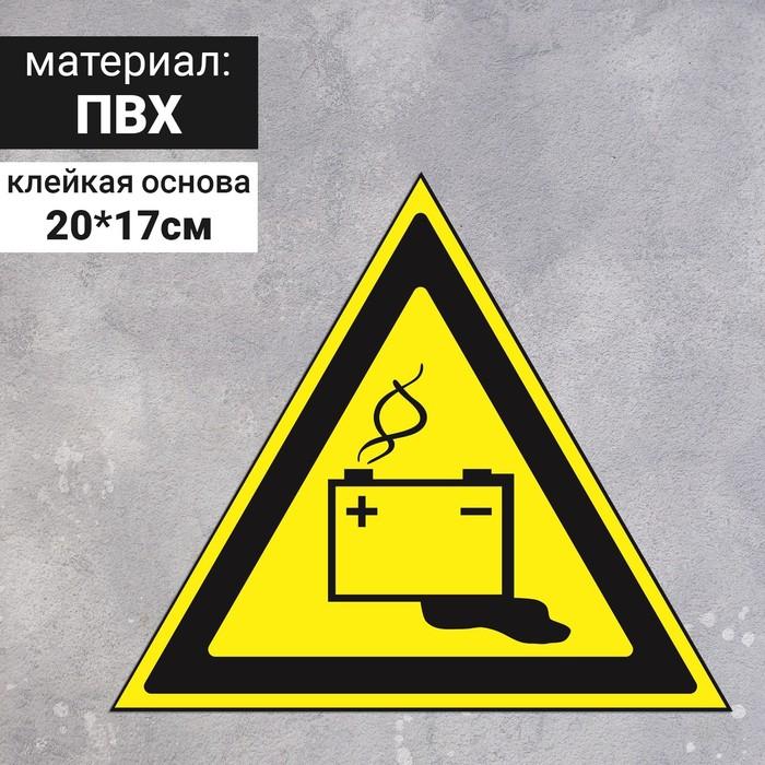 Знак W 20 ГОСТ Р 12.4.026-2001 Осторожно.Аккумуляторные батареи, самоклеющийся продажа, цена в Минске
