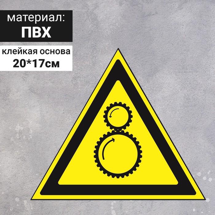 """Знак W 29 """"ГОСТ Р 12.4.026-2001 """"Осторожно.Возможно затягивание между вращающ. элементами"""", самоклею"""