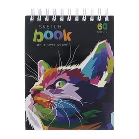 """Скетчбук А6, 60 листов на гребне """"Цветокотэ"""", обложка мелованный картон, фольгирование, твин-лак, 120 г/м2"""