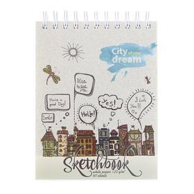 """Скетчбук А6, 60 листов на гребне """"Город мечты"""", обложка мелованный картон, фольгирование, твин-лак, блок 120 г/м2"""