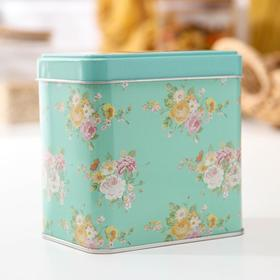 Банка для сыпучих продуктов прямоугольная Рязанская фабрика жестяной упаковки «Цветы», 0,6 л