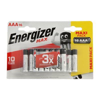 Батарейка алкалиновая Energizer Max, AAA, LR03-16BL, 1.5В, блистер, 16 шт.