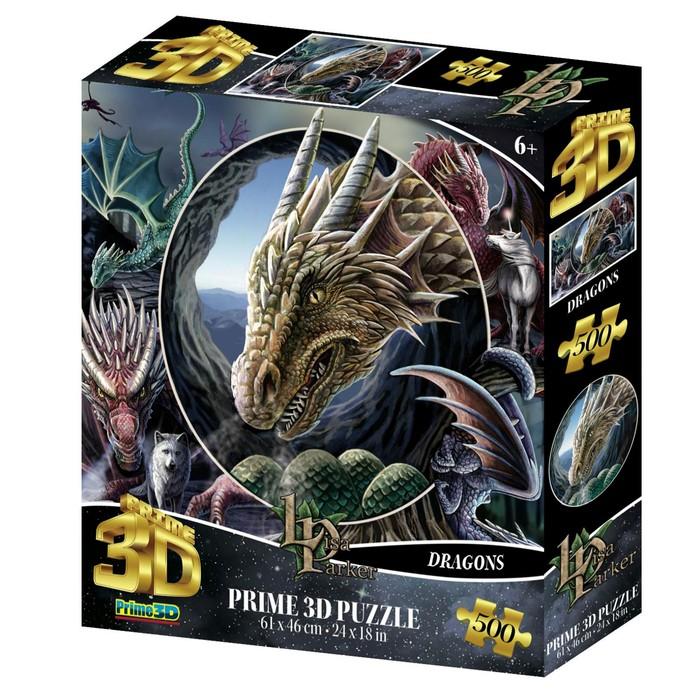 3D Пазл коллаж 500 элементов «Драконы», 6+