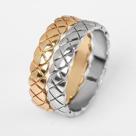 Кольцо 'Узор' двойной, цвет золотисто-серебрянный, размер 19 Ош