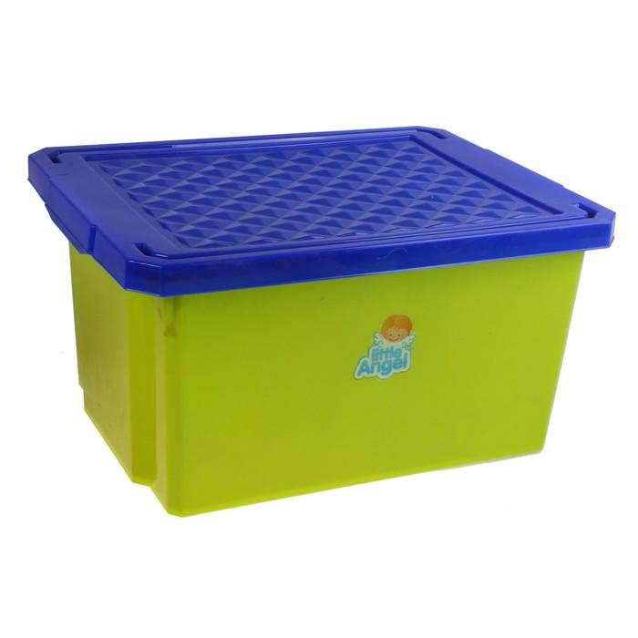 """Ящик для игрушек 17 л """"Лего"""" с крышкой, цвет фисташковый"""
