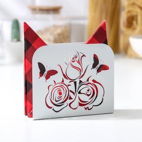 Салфетница GALA «Розы», 12,2×3,3×9,7 см, цвет белый