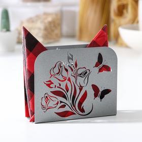 Салфетница GALA «Цветы», 12,2×3,3×9,7 см, цвет серый