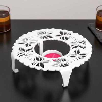 Подставка для подогрева «Бабочки», 18,6×18,6×4,6 см цвет белый - Фото 1