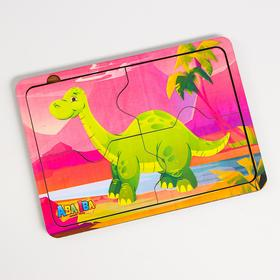 Деревянный пазл для детей «Динозавр» 4 детали