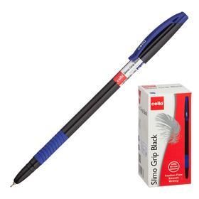 """Ручка шариковая Cello """"Slimo Grip black body"""" узел 0,7мм, чернила синие, грип 2662"""