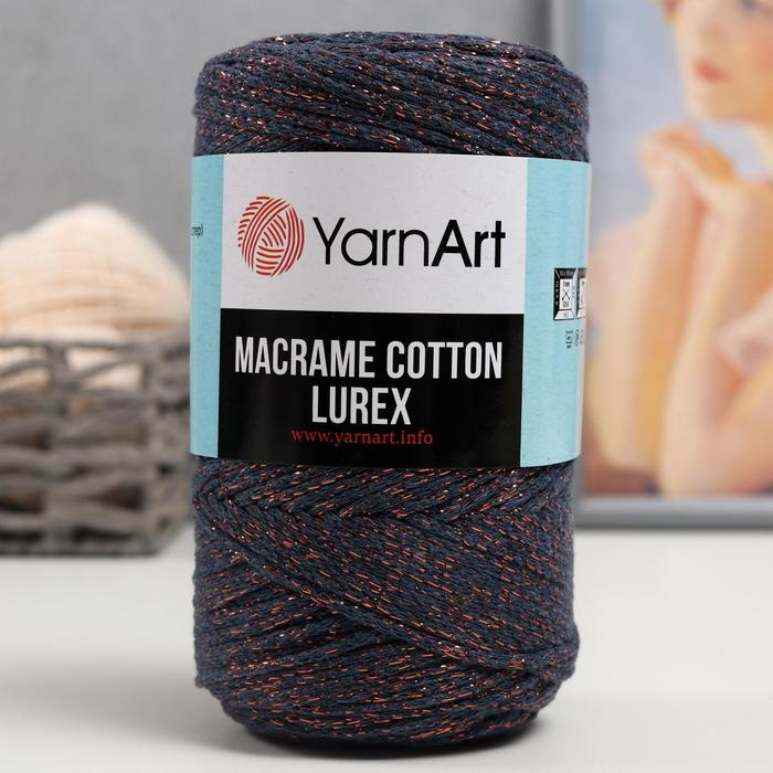 "Пряжа ""Macrame cotton lurex"" 75%хлопок, 13%полиэст., 12%металлик 205м/250гр (731)"