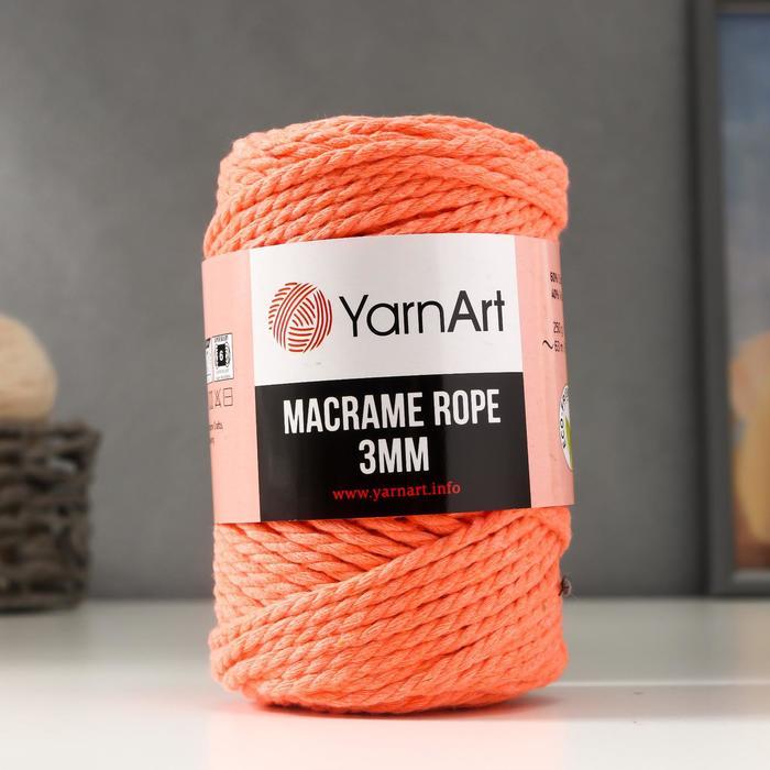 "Пряжа ""Macrame Rope"" 60% хлопок, 40% вискоза/полиэстер 3мм 63м/250гр (767 роз.коралл)"