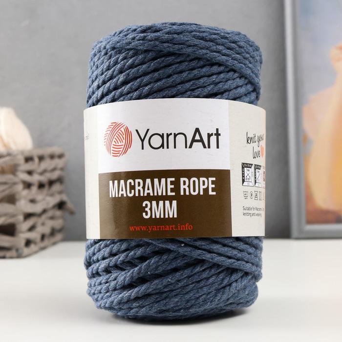 "Пряжа ""Macrame Rope"" 60% хлопок, 40% вискоза/полиэстер 3мм 63м/250гр (761 джинс)"