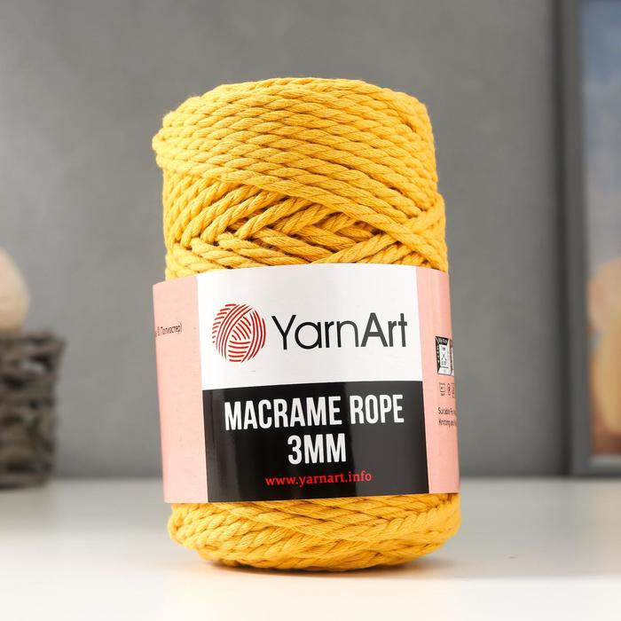 "Пряжа ""Macrame Rope"" 60% хлопок, 40% вискоза/полиэстер 3мм 63м/250гр (764 жёлтый)"