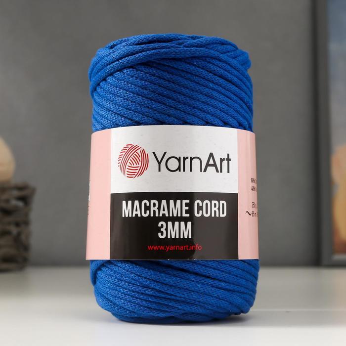 """Пряжа """"Macrame Cord"""" 60% хлопок, 40% вискоза/полиэстер 3 мм 85м/250гр (772 василёк)"""