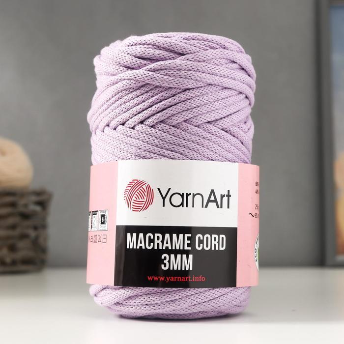 "Пряжа ""Macrame Cord"" 60% хлопок, 40% вискоза/полиэстер 3 мм 85м/250гр (765 астра)"