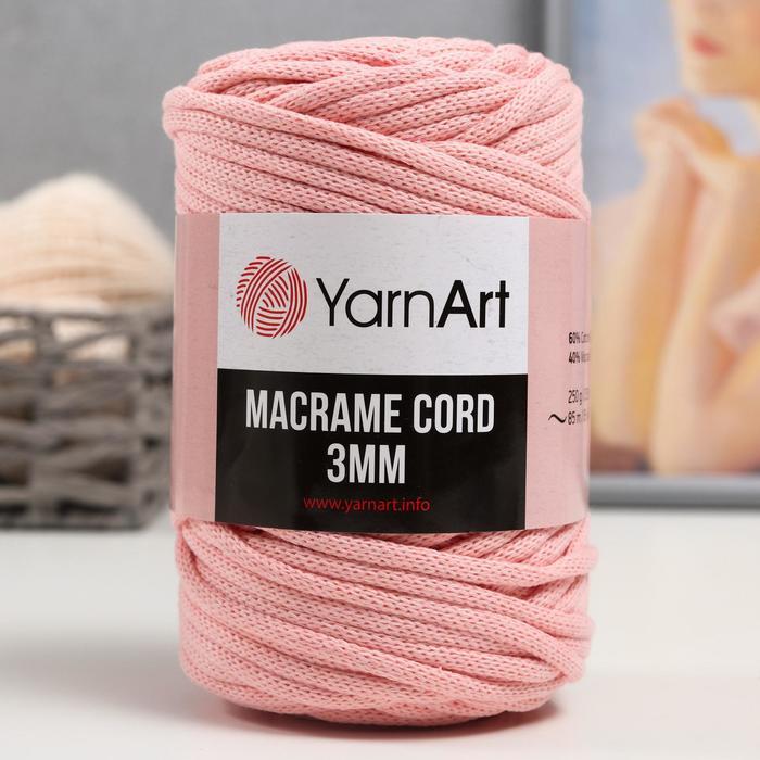 """Пряжа """"Macrame Cord"""" 60% хлопок, 40% вискоза/полиэстер 3 мм 85м/250гр (767 роз.пудра)"""