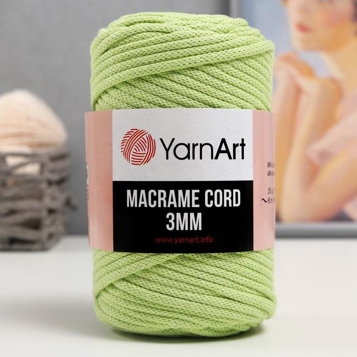 "Пряжа ""Macrame Cord"" 60% хлопок, 40% вискоза/полиэстер 3 мм 85м/250гр (755 салат)"