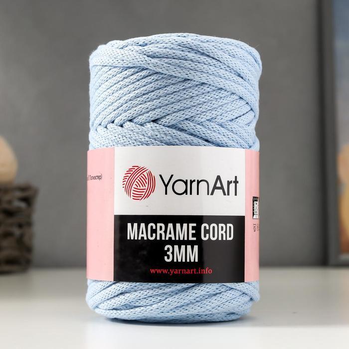"""Пряжа """"Macrame Cord"""" 60% хлопок, 40% вискоза/полиэстер 3 мм 85м/250гр (760 св. голубой)"""