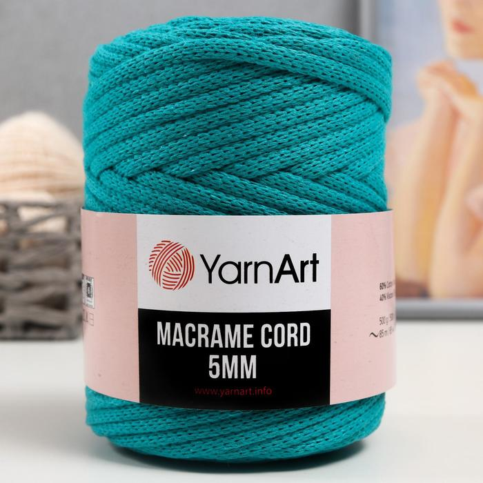 "Пряжа ""Macrame Cord"" 60% хлопок, 40% вискоза/полиэстер 5 мм 85м/500гр (783 зел.бирюза)"