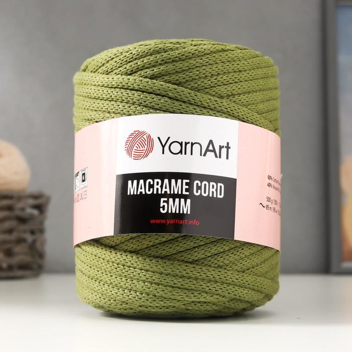 "Пряжа ""Macrame Cord"" 60% хлопок, 40% вискоза/полиэстер 5 мм 85м/500гр (787 аспарагус)"