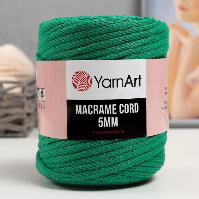 "Пряжа ""Macrame Cord"" 60% хлопок, 40% вискоза/полиэстер 5 мм 85м/500гр (759 ярк.зеленый)"