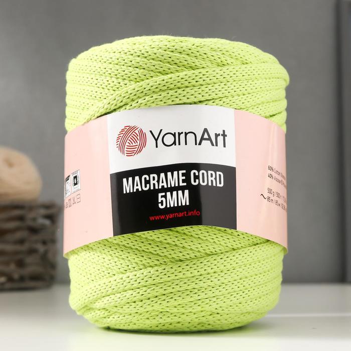 "Пряжа ""Macrame Cord"" 60% хлопок, 40% вискоза/полиэстер 5 мм 85м/500гр (755 салат)"