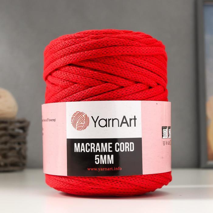 "Пряжа ""Macrame Cord"" 60% хлопок, 40% вискоза/полиэстер 5 мм 85м/500гр (773 красный)"