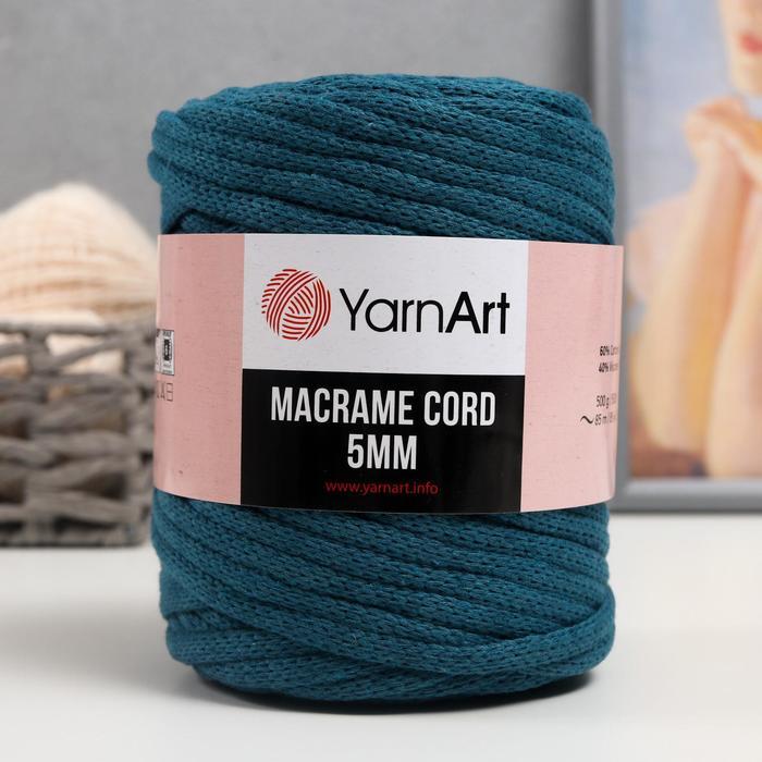 "Пряжа ""Macrame Cord"" 60% хлопок, 40% вискоза/полиэстер 5 мм 85м/500гр (789 морск.волна)"