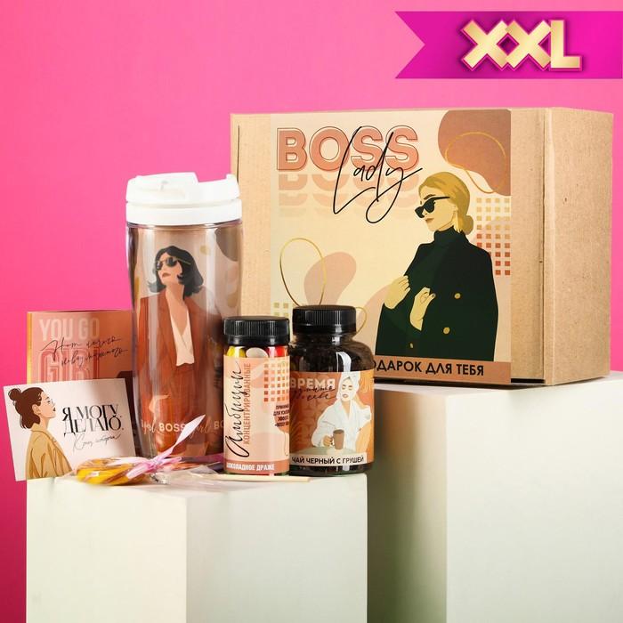 Подарочный набор Boss lady, чай 50 г., термостакан 350 мл., драже шоколадное 80 г., шоколад 4 шт. * 5 г., леденец 15 г.