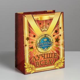 Пакет ламинированный «медаль коллаж Золотому руководителю», MS 18 × 23 × 10 см Ош