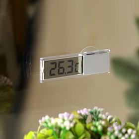 Термометр электронный на присоске прозрачный на батарейках, пластик Ош