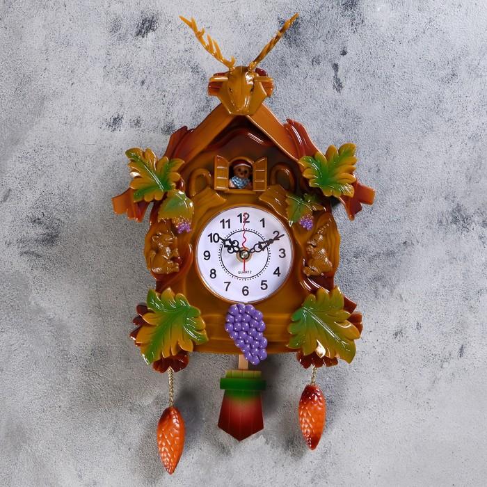 Часы настенные с кукушкой, серия Детские, Белочки 40х21 см,