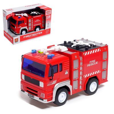 Машина инерционная «Пожарная служба», свет и звук, 1:20 - Фото 1
