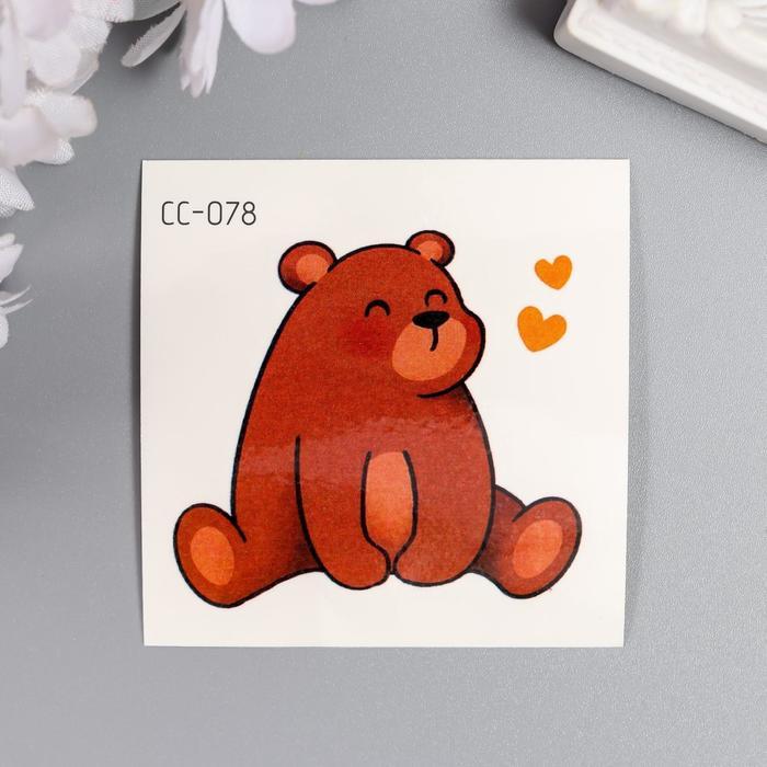 Татуировка на тело цветная Медвежонок с сердечками 6х6 см