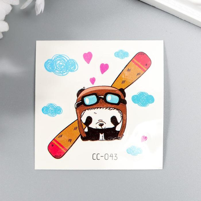 Татуировка на тело цветная Панда-лётчик 6х6 см