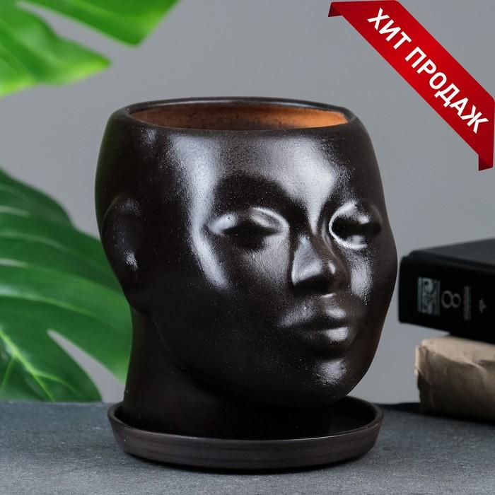 """Фигурное кашпо """"Голова"""", чёрное, 17х14х15см"""