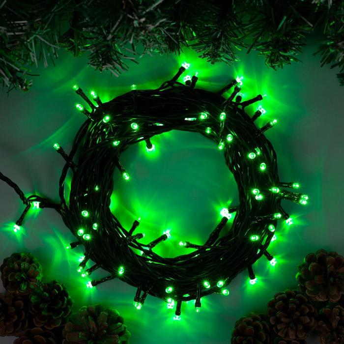 Гирлянда Нить 10 м , IP44, тёмная нить, 100 LED, свечение зелёное, 8 режимов, 220 В