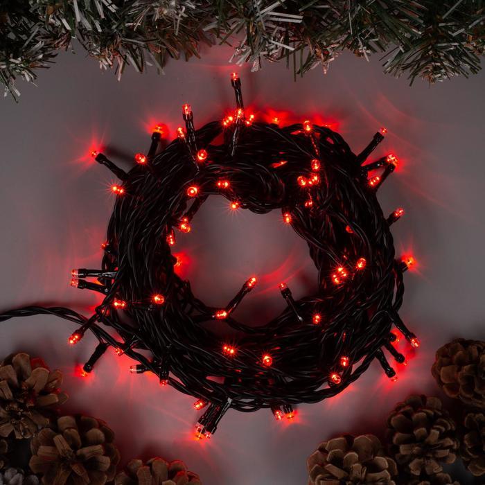 Гирлянда Нить 10 м , IP44, тёмная нить, 100 LED, свечение красное, 8 режимов, 220 В