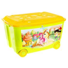 Ящик для игрушек на колесах с аппликацией, цвета МИКС