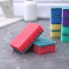 Набор губок бытовых с чистящим слоем Доляна «Эконом», 7,5×4,5×2,5 см, 10 шт