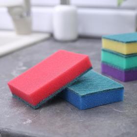 Набор губок бытовых с чистящим слоем Доляна «Супер», 10×7×2,5 см, 5 шт