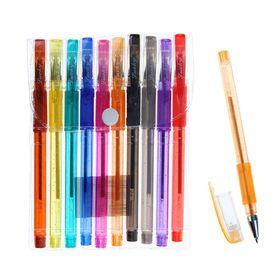 Набор гелевых ручек, 10 цветов металлик, с блёстками, с резиновыми держателями