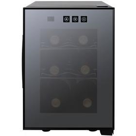 Винный шкаф VIATTO VA-JC16, 500 Вт, 2 полки, 6 бутылок, +8 до +18 °C, чёрный