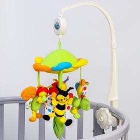 Мобиль музыкальный «Цветущий луг», заводной, мягкие игрушки