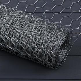 Сетка оцинкованная, плетёная, 0,5 × 10 м, ячейка 25 × 25 мм, d = 1 мм, металл Ош