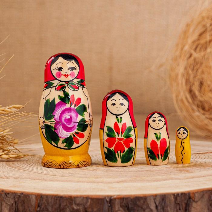 Матрёшка Семёновская, красный платок, 4 кукольная, 9 см, ручная работа