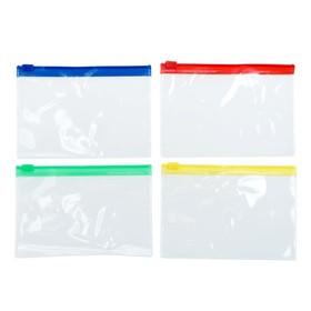 Папка-конверт на молнии, формат А6, 120 мкр, прозрачная молния, 13х9 см, МИКС Ош