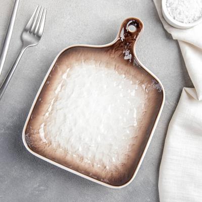 Блюдо для подачи Доляна «Туманность», 23×16,6×3,5 см, цвет коричневый - Фото 1